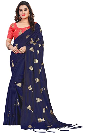 8fd690c1f3 Vastrang Sarees Women's Paper Silk Embroidered Saree with Tassels & Blouse,  5459, ...