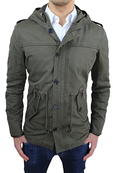 Chaleco Chaqueta Hombre Parka verde militar Slim Fit ajustada Casual chaqueta Eskimo nuevo verde militar L: Amazon.es: Ropa y accesorios