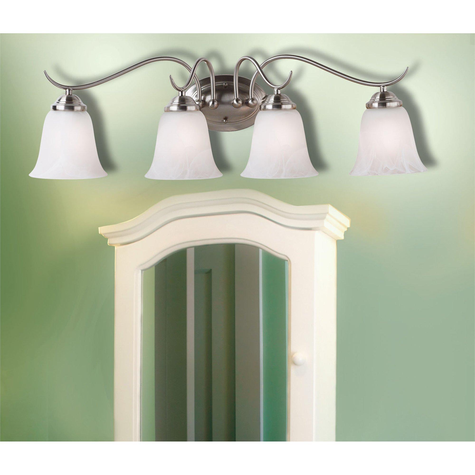 Kenroy Home 90214BS Medusa 4-Light Vanity with Alabaster Glass Shade, Brushed Steel