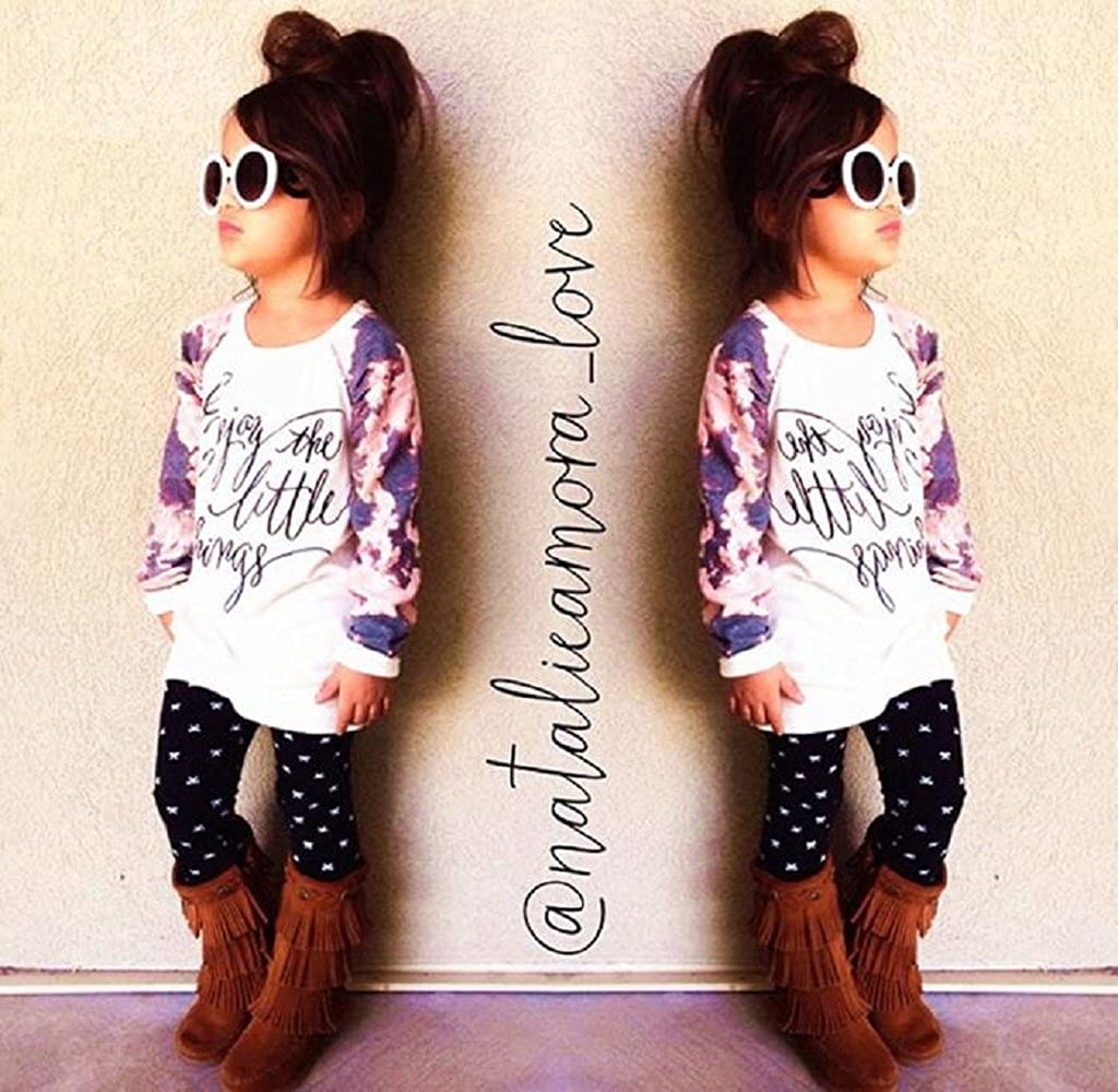 Mapletop 1Set Girl Long Sleeve Print T-Shirt Tops+Pants Outfits Clothes