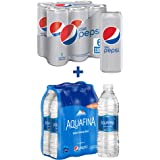 Diet Pepsi Carbonated Can Soft Drink, 6 x 330 ml + Aquafina, 6 x 500 ml