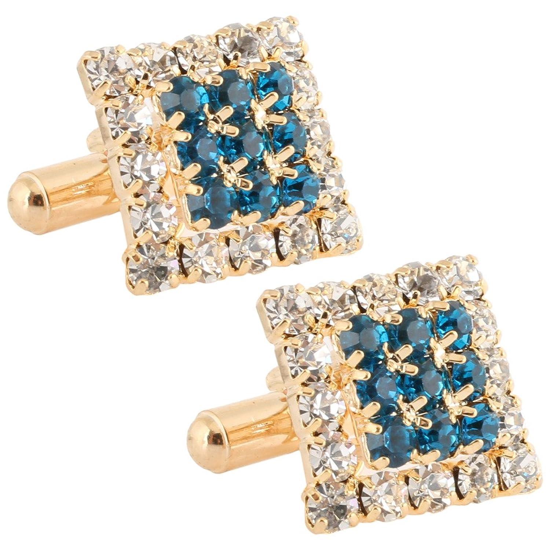 TRIPIN Men's Square Blue Diamond Crystals Golden Brass Cufflinks In A Gift Box