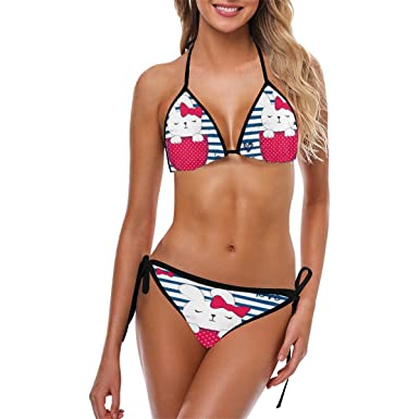 95dd004b15ee8 Image Unavailable. Image not available for. Color: InterestPrint Women's Push  up Bikini Set Custom Cute ...