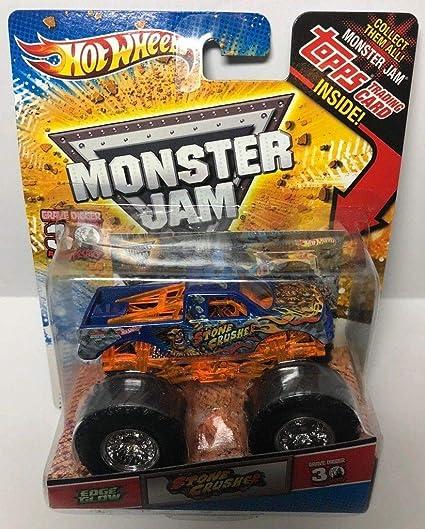 Amazon Com Hot Wheels Monster Jam Stone Crusher Edge Glow 30th Topps Trading Card Monster Truck Toys Games