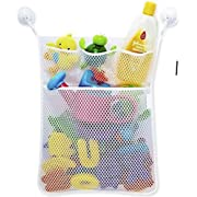 LVieve Bath Toy Organizer Toy Storage Bins Quick Dry Baby Toy Organizer + 3 Soap Pockets 4X Suction Cup
