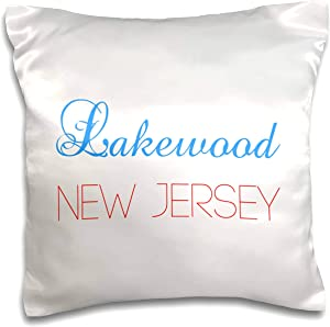 3dRose Alexis Design - American Cities Nevada-New-York - Lakewood, New Jersey blue, red text. Patriotic USA home town gift - 16x16 inch Pillow Case (pc_300576_1)