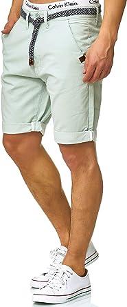 100/% algod/ón con cintur/ón bermudas de corte regular Indicode Conor Pantalones cortos chinos para hombre