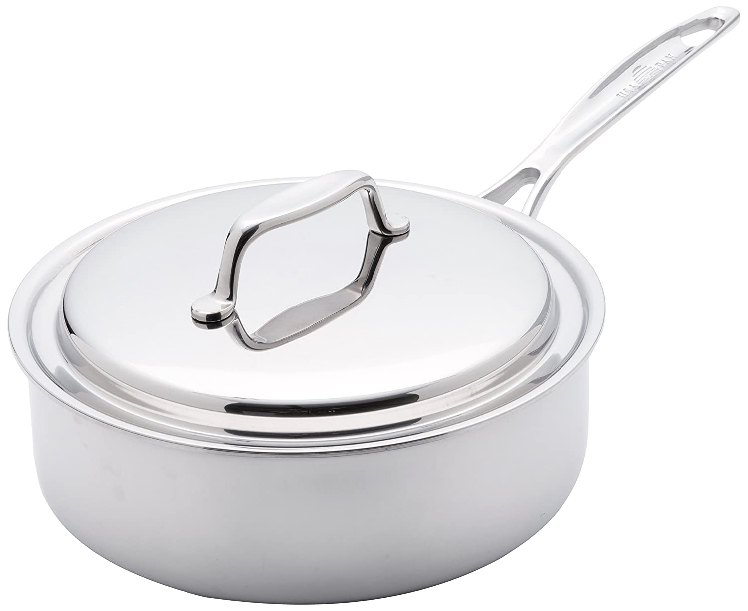 USA Pan 1505CW-1 Cookware 5-Ply Stainless Steel 8 Inch Sauce Pan with Cover, Oven and Dishwasher Safe, Made in the USA 8-Inch, Silver