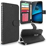 Droid Maxx 2 Case, Moto X Play Case, Cellularvilla [Stand Feature] [Card Slots] Premium Pu Leather Flip Wallet Case Cover For Motorola Droid Maxx 2 XT1565 / Moto X PLAY XT1562 (Carbon Fiber Black)