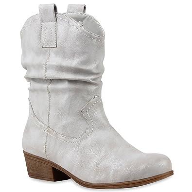 Schuhe Western Style Lederoptik Schlupf-Stiefel kgOOy6int