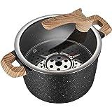 COOKER KING 5Qt Nonstick Stockpot with Detachable Steamer Insert, Deep Pot, Soup Pot,Granite Maifan Stone, Marble…