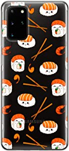 Lex Altern TPU Case Compatible with Samsung Galaxy S21 Note 20 Plus S20 Ultra S10 5G 9 Flexible Silicone Lightweight Clear Asian Japanese Slim Sushi Rolls Cover Junk Food Kawaii Protective phh461