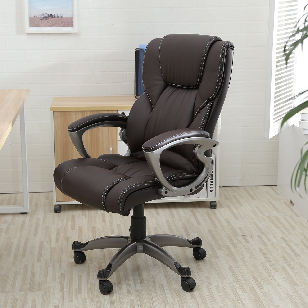 Amazon.com: Belleze High Back Executive PU Leather Office Chair, Brown:  Kitchen U0026 Dining