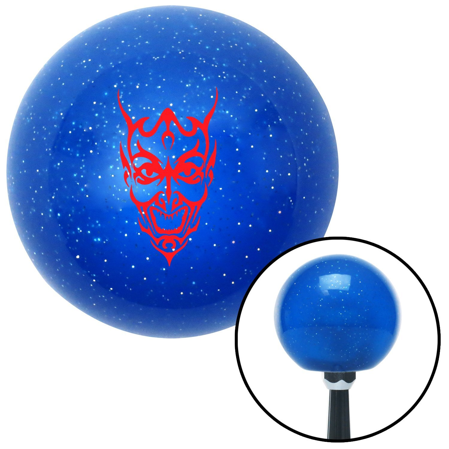 Red Abstract Devil Face American Shifter 24951 Blue Metal Flake Shift Knob