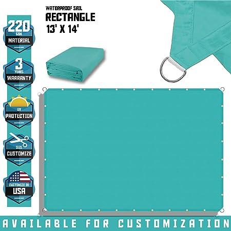Red Custom 13-24FT Rectangle Waterproof Sun Shade Sail Garden Pool Patio Cover