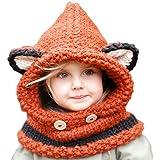 Unisex Cappello cappellini sciarpa incappucciata Autunno Inverno per Ragazzi Ragazze Bambino, URAQT sciarpe cappello fox orecchie