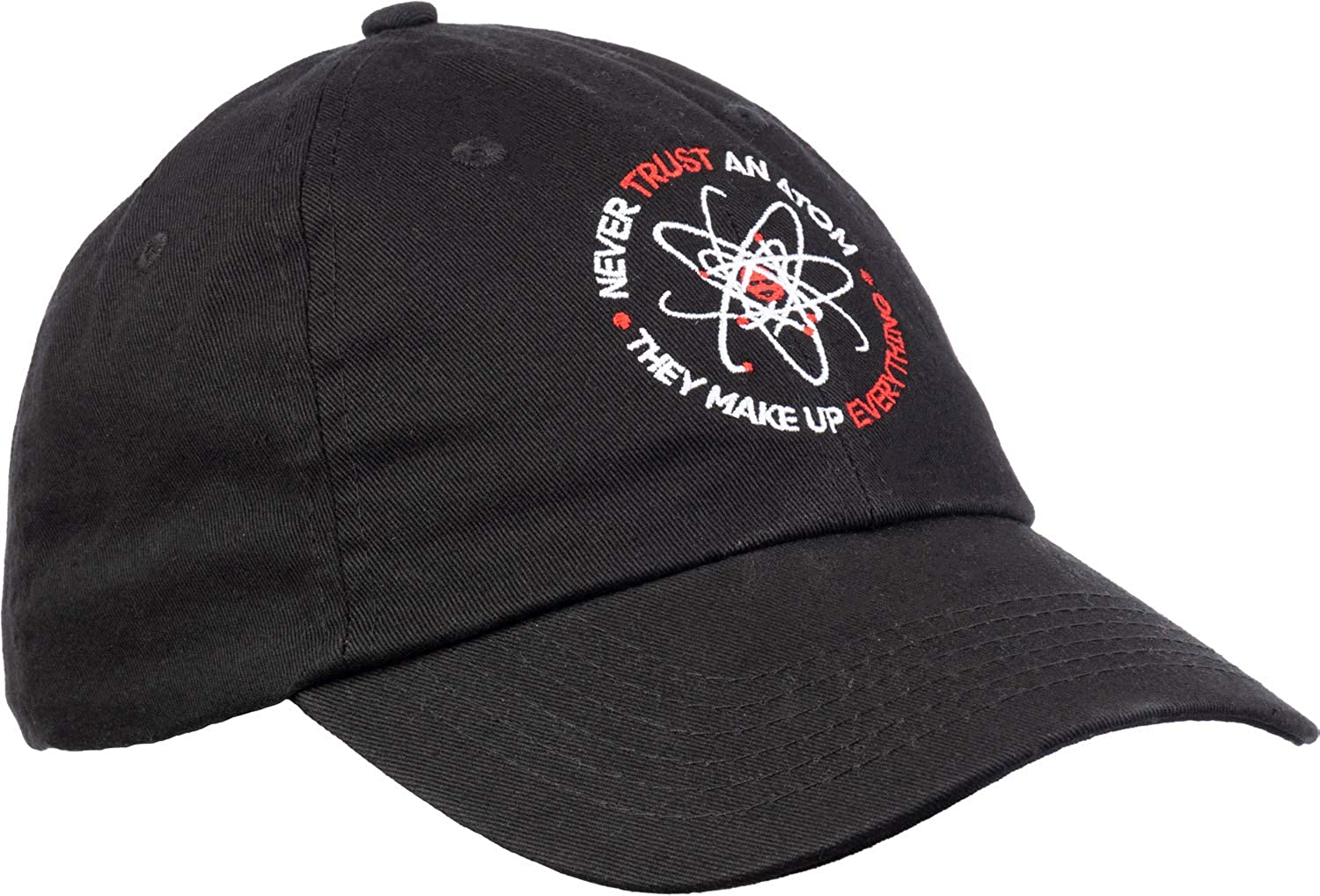 Funny Science Dad Joke Cap Hat Never Trust an Atom They Make up Everything