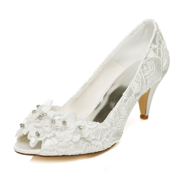 JIAJIA 5949420 Women's Bridal Shoes Peep Toe Cone Heel Lace Satin Pumps Satin Flower Rhinestone Wedding Shoes Color Ivory,Size 10.5 B(M) US/42 EU