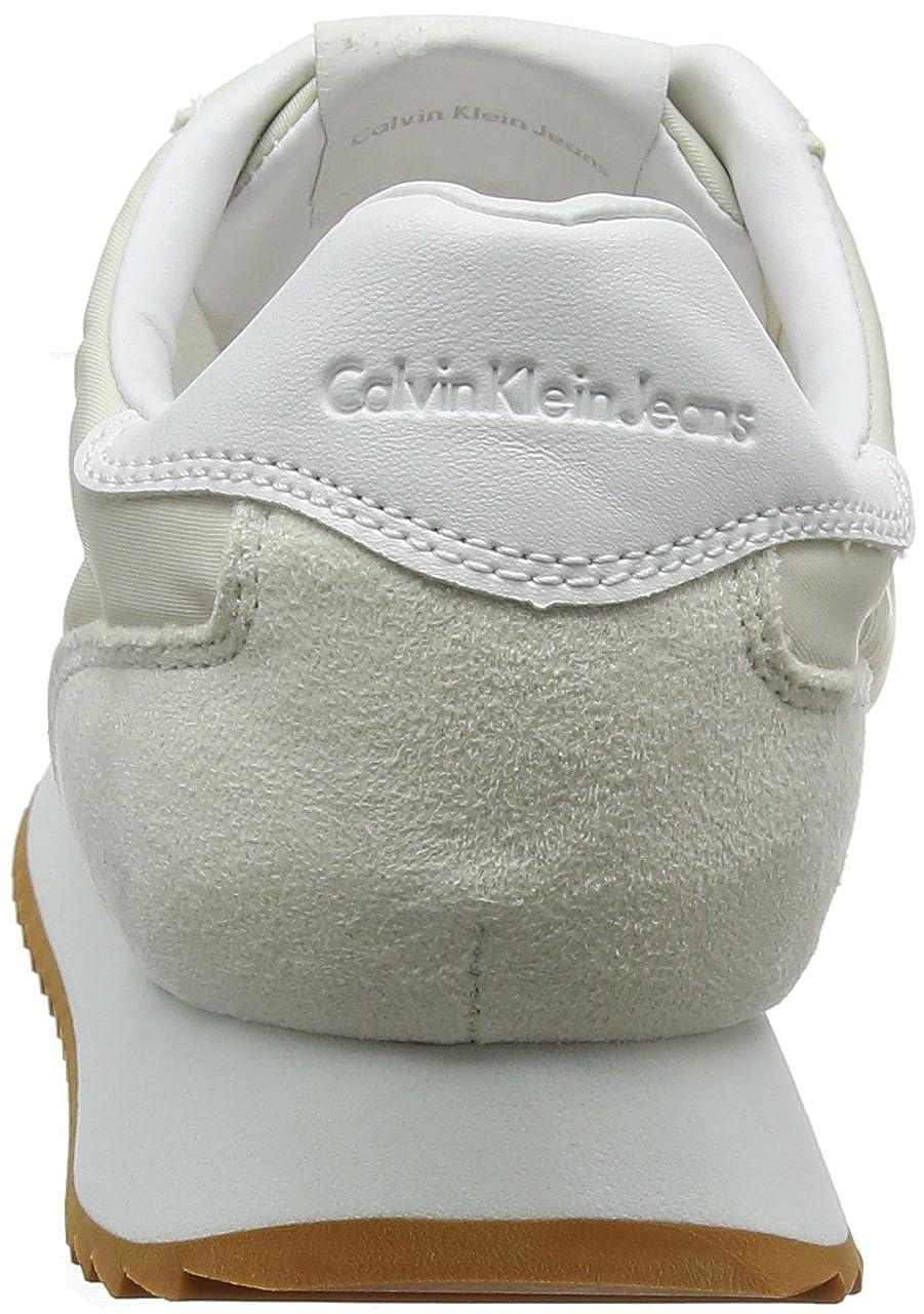 Calvin Jeans Klein Jeans Calvin Damen Colette Nylon/Suede Sneaker Elfenbein (Ofw 000) 3c8006
