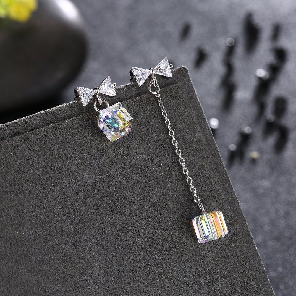 Fashion Silver Drop Earrings Swarovski Crystals Dangles LEKANI Crystal from Swarovski