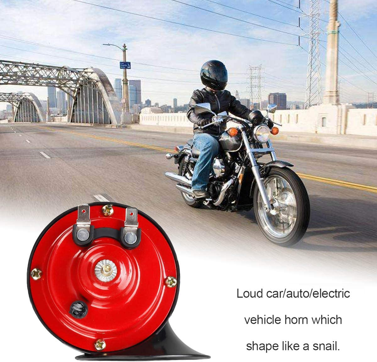 Motorrad universal LKW 12 V elektrisch ShineTool Auto-Hupe 130 dB 1 Paar Schnecken-Horn f/ür Auto zweifarbig