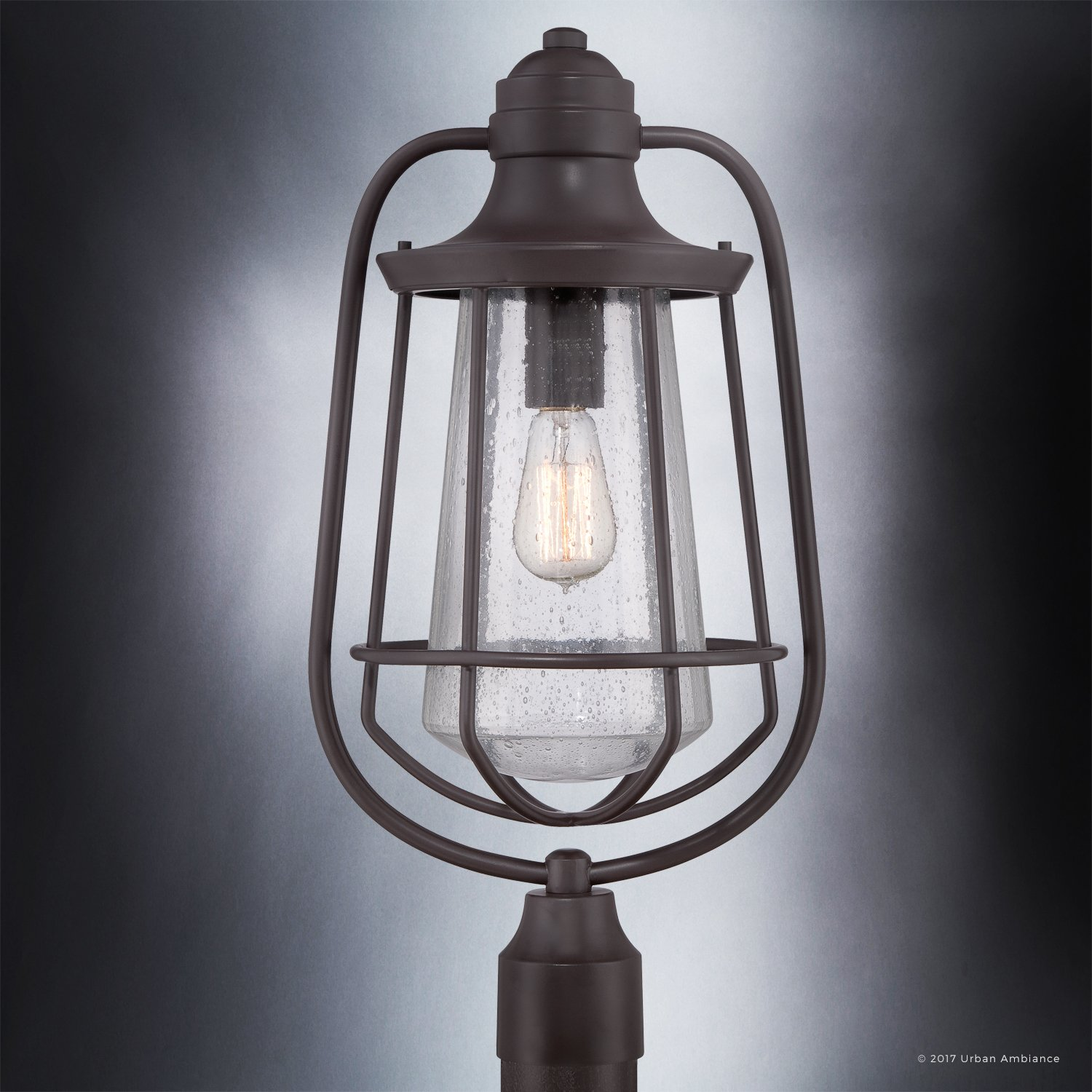 Luxury Vintage Outdoor Post Light, Large Size: 23''H x 11''W, with Nautical Style Elements, Cage Design, Estate Bronze Finish and Seeded Glass, Includes Edison Bulb, UQL1124 by Urban Ambiance by Urban Ambiance (Image #3)