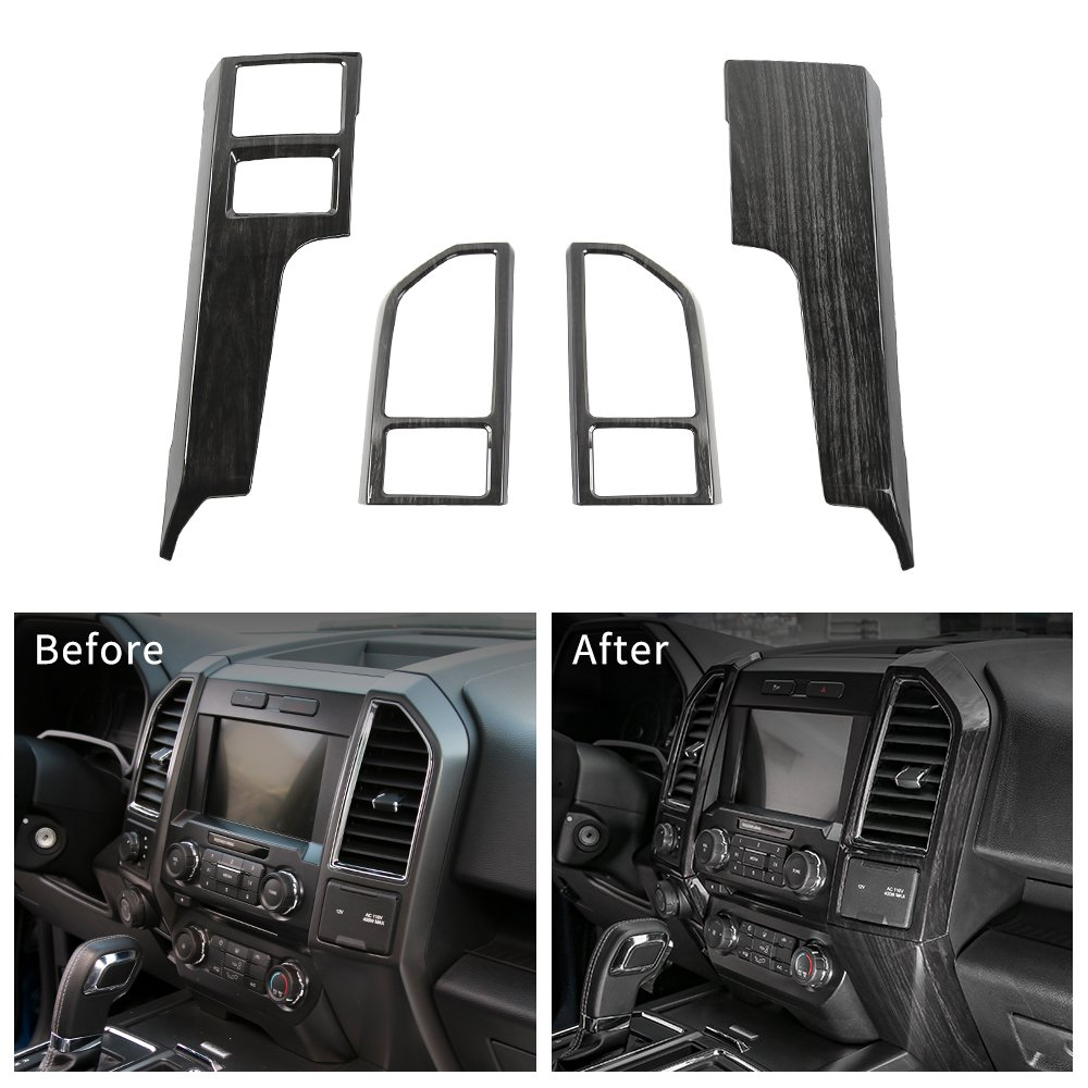 Voodonala Black Grain Central Contral Panel Air Conditioning Outlet Vent Covers Frame for Ford F150 2015 2016 2017 by Voodonala (Image #6)