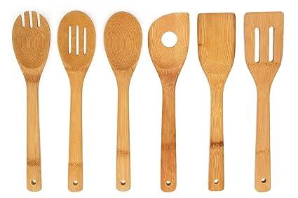 amazon com premium kitchen cooking utensils bamboo spoon spatula 6 rh amazon com kitchen tools and utensils wholesale kitchen tools and utensils list