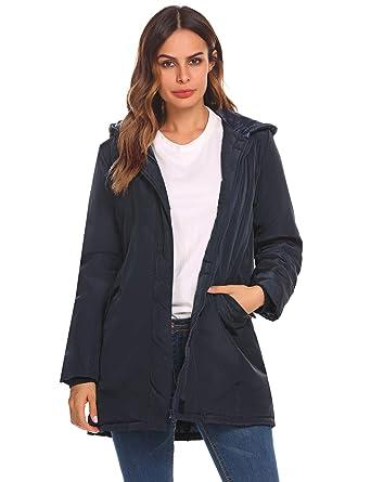 82a12009c5c ELESOL Women s Military Hooded Warm Winter Parkas Anoraks Long Trench Coats  Dark Blue S