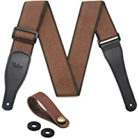 Guitar Strap 100% Soft Cotton & Leather Ends Guitar Shoulder Strap With Guitar Strap Lock and Button Headstock Adaptor (Coffee)