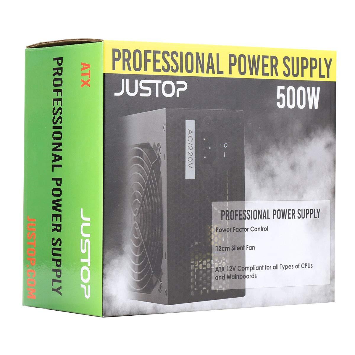 JUSTOP 500/W ATX Bloc dalimentation PC Ventilateur de 120/mm Silencieux SATA//24/Broches//4/Broches 12/V//Molex