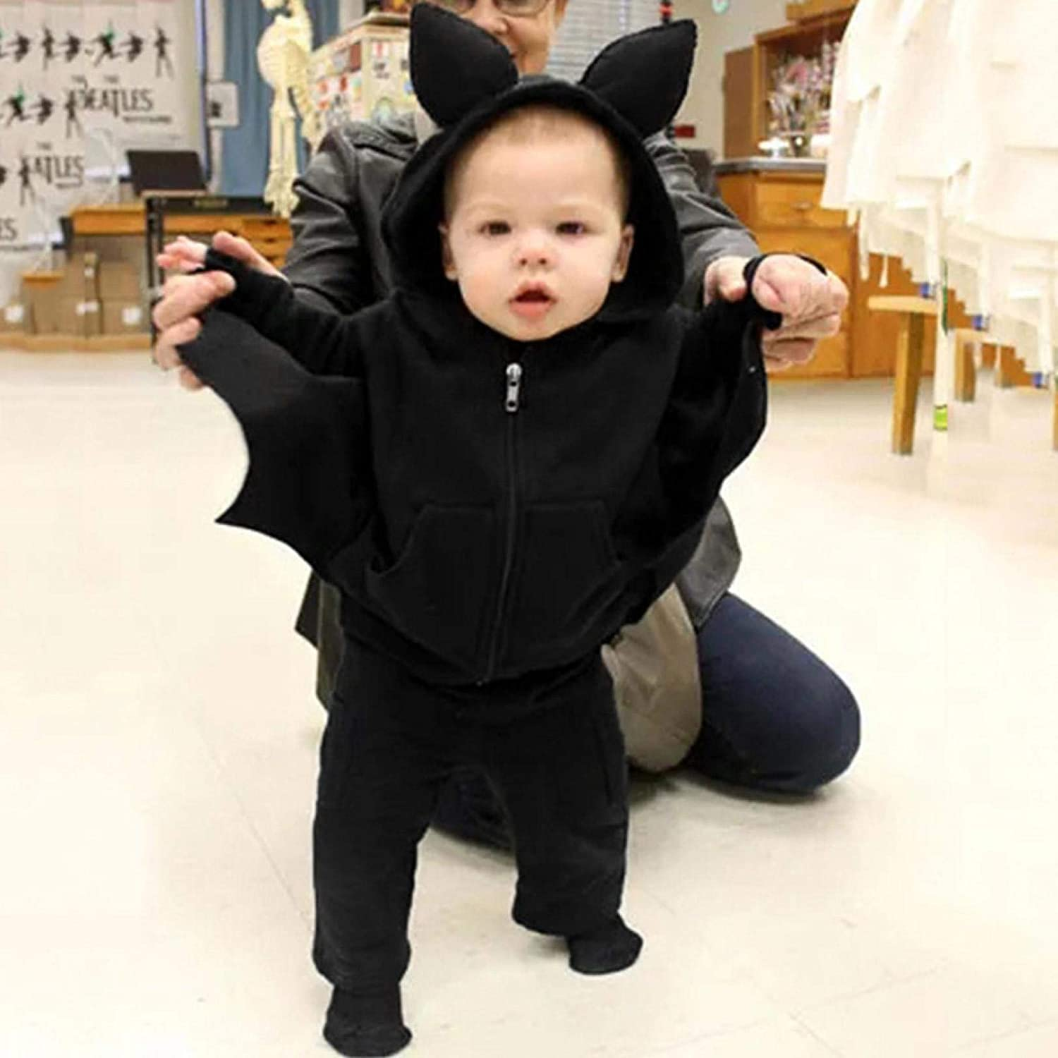 Halloween Costumes for Babies Cartoon Zipper Hooded Jacket Trouser Casual Bat Hoodie Coat with Pocket Sweatpant Sportswear Hoody Tops Pant Tracksuit Outerwear Jogging Suit 6M-4T