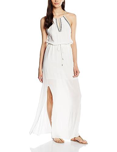 VERO MODA Damen Kleid Vmmarcela S/L Long Dress, Weiß (Snow White), 38 (Herstellergröße: M)
