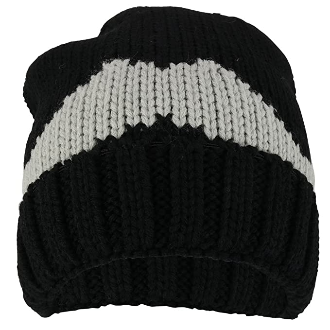e651906fd1a Trendy Apparel Shop Big Mustache Knitted Large Crown Warm Acrylic Beanie Hat  - Black