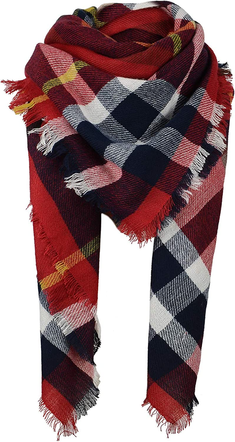 Zando Plaid Blanket Thick Winter Scarf Tartan Chunky Wrap Oversized Shawl Cape