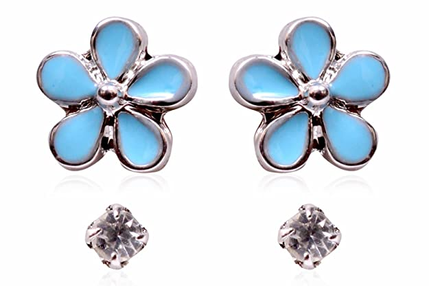 Trendy Baubles Set Of 2 : Diamante & Blue Flower Stud For Children Women at amazon