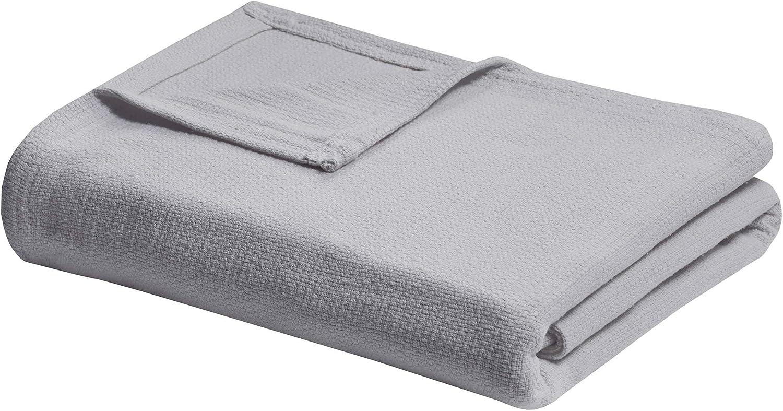 Madison Park Freshspun Basketweave Luxury Cotton Blanket Grey 66x90 Twin Size Basketweave Premium Soft Cozy 100% Cotton For Bed, Couch or Sofa