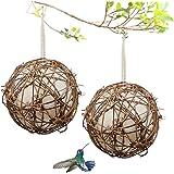 Gute Globe Hummingbird Nesters, Hummingbird Nesting Houses Set of 2, Bird Nesting Materials Holder, Refillable Cotton…