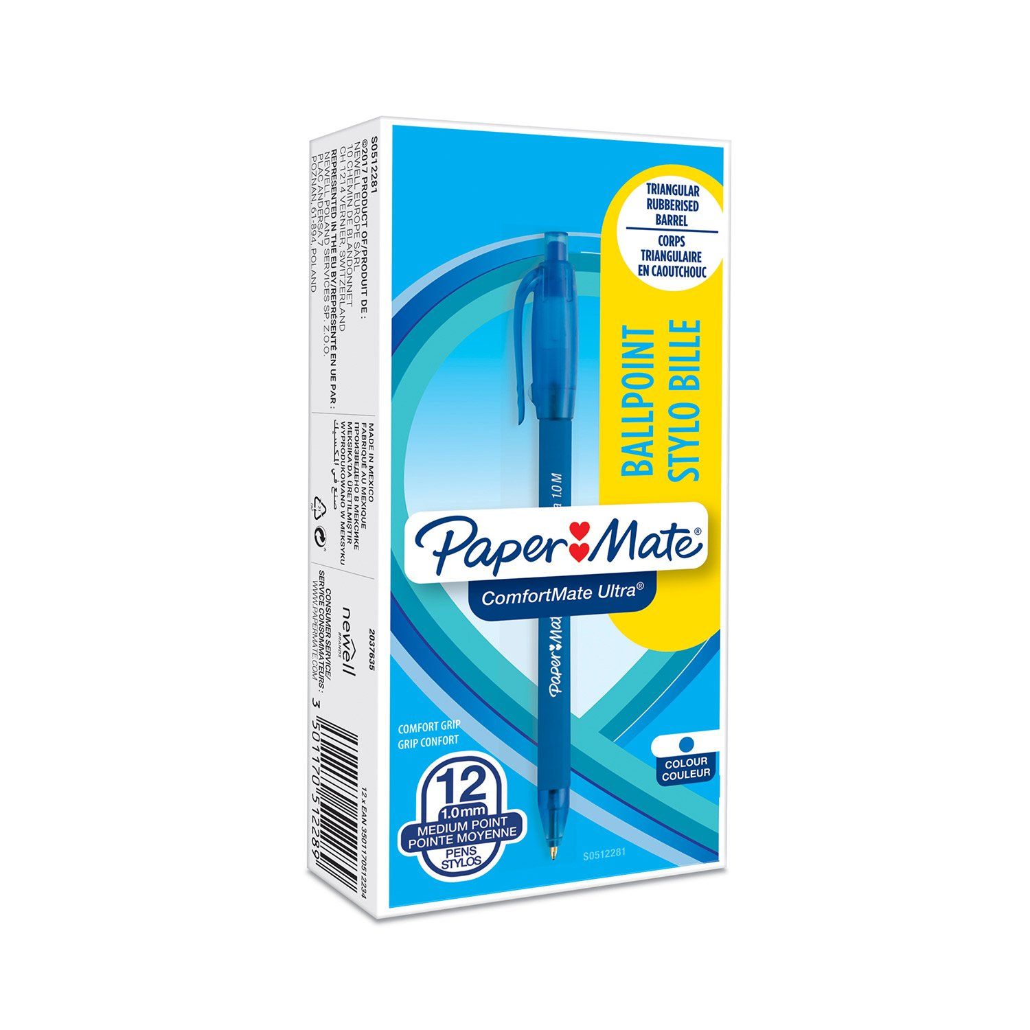 Paper Mate ComfortMate Ultra penna a sfera a scatto, punta media (1 mm), blu, confezione da 12 Newell Rubbermaid S0512281