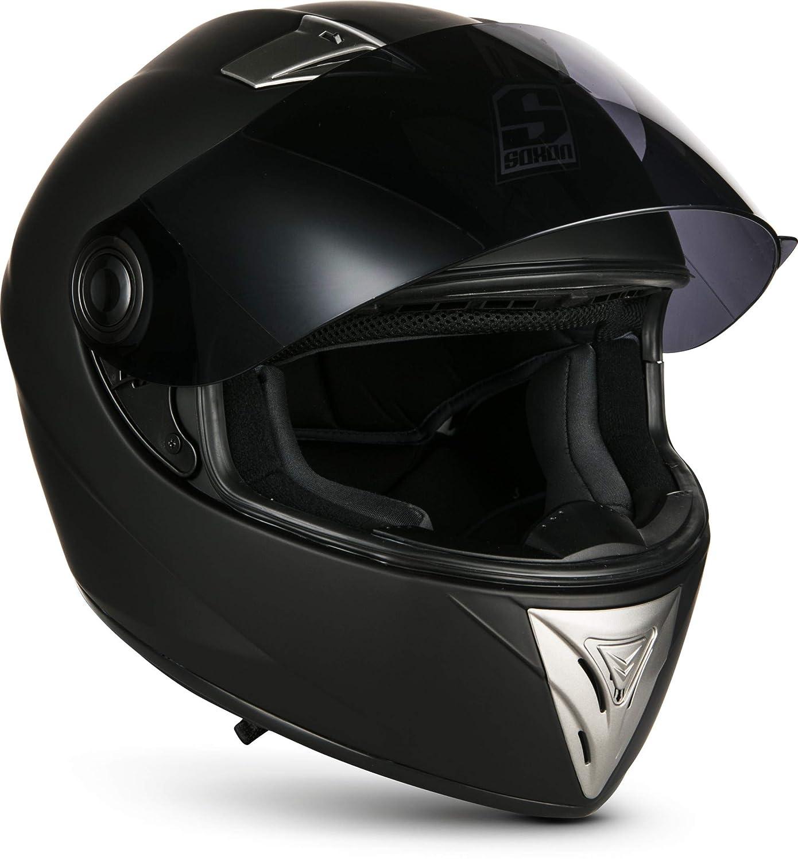 SOXON ST-550 Snow /· Roller-Helm Sturz-Helm Urban Integral-Helm Sport Motorrad-Helm Helmet Scooter-Helm Cruiser /· ECE zertifiziert /· inkl 57-58cm Sonnenvisier /· inkl Stofftragetasche /· Wei/ß /· M