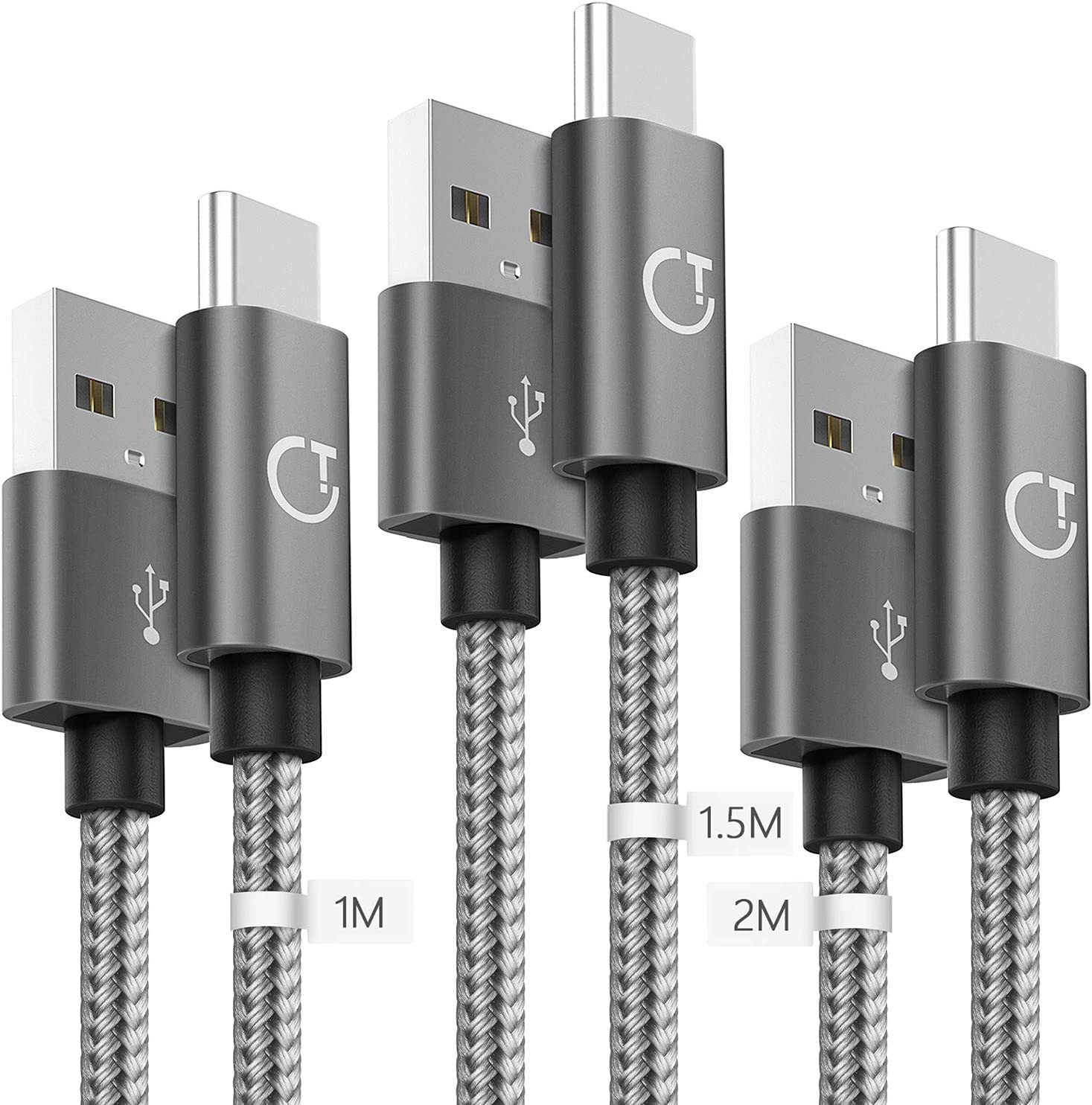 Gritin Cable USB C, 3-Pack [1M +1.5M +2M] Cable USB Tipo C Nylon Trenzado Sincronización para Samsung Galaxy S10/S9/S8, Huawei P30/P20/Mate 20, Xiaomi Redmi Note 7 etc.