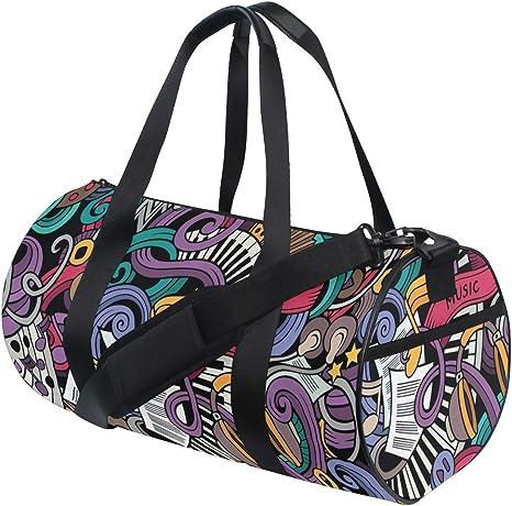 ZOMOY Bolsa de Deporte,Musicd Instrumentos Abstractos Dibujados a Mano Micrófono Batería Teclado Stradivarius,Nuevo de Cubo de impresión Bolsas de Ejercicios Bolsa de Viaje Equipaje Bolsa de Lona: Amazon.es: Deportes y aire libre