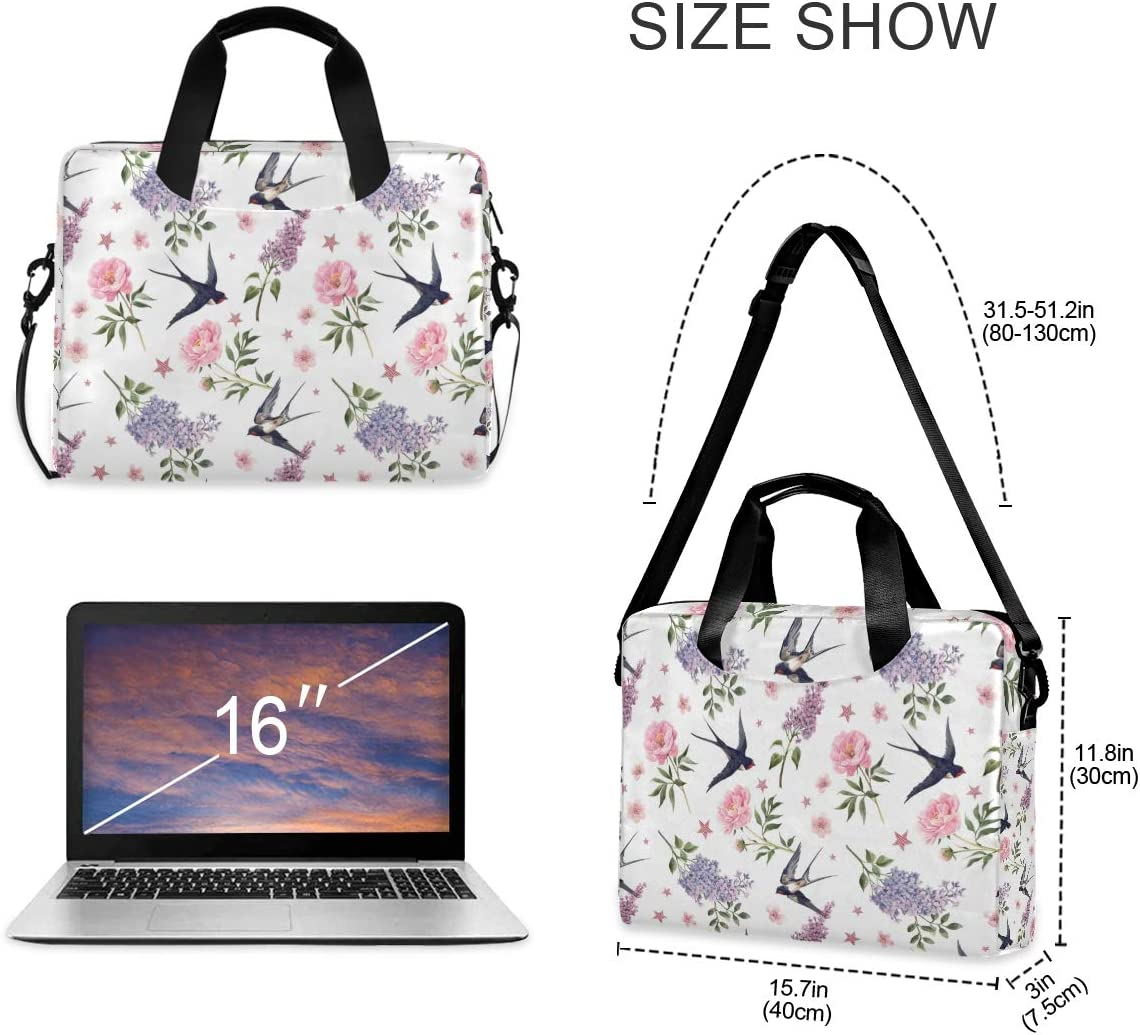 Cute Laptop Cases 15.6 for Women Laptop Shoulder Bag Carrying Briefcase Handbag Sleeve Case Watercolor Anemone Lilac Peony Flowers and Swallow Birds