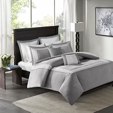 Madison Park Stratford Duvet Cover King/Cal King Size - Grey, Geometric Duvet Cover Set – 7 Piece – Ultra Soft Microfiber Light Weight Bed Comforter Covers