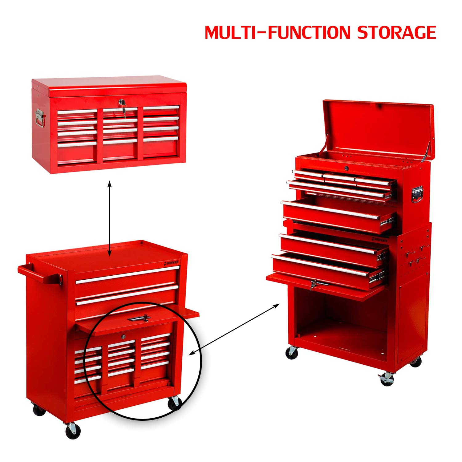 2Pcs Tool Storage Box Portable Top Chest Rolling Tool Box Organizer Sliding Drawers Cabinet Keyed Locking System Toolbox Red Suny Deals
