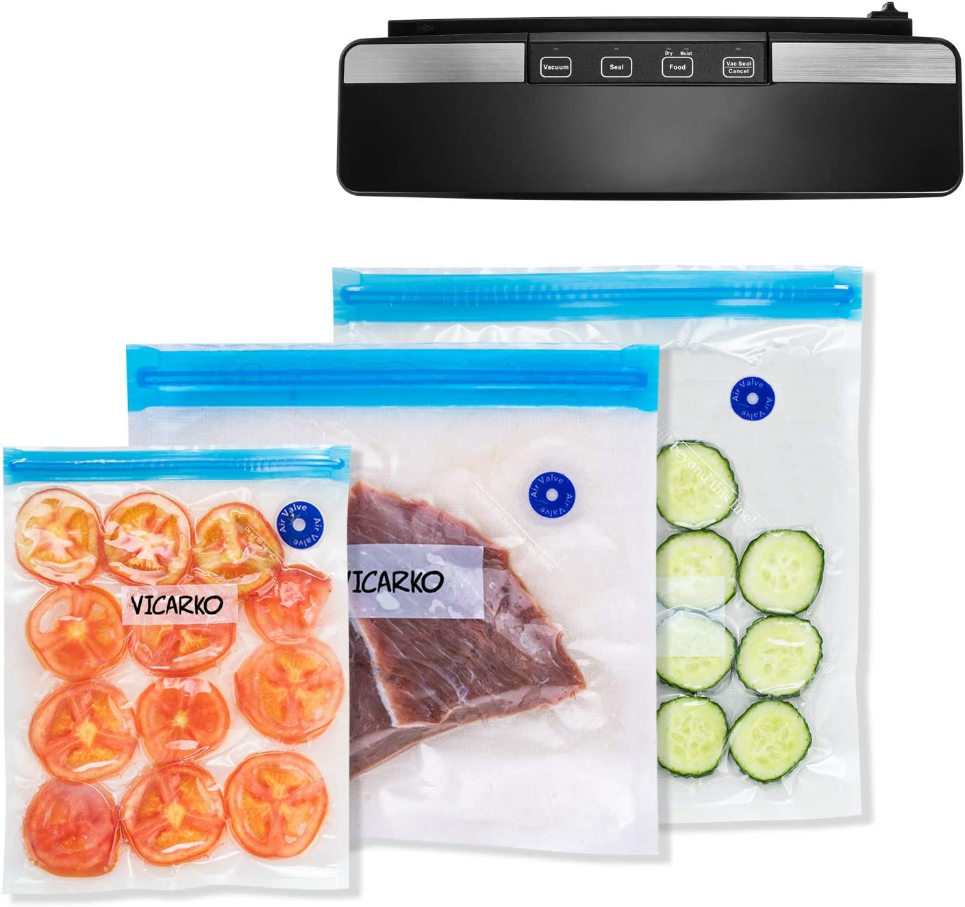 VICARKO Vacuum Sealer Machine, Automatic Food Sealer with Cutter | for Food Saver Sous Vide | Dry & Moist Food Modes | Compact Design | Starter Kit | Vacuum Sealing Bags and Roll Included