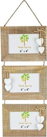 Triple Trois 3 en bois à suspendre en bois Cadre Photo-Live Laugh Love-Blanc Coeurs