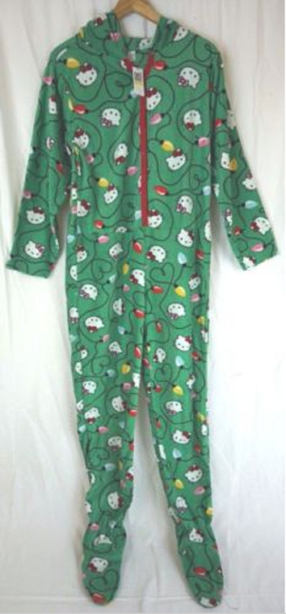 Hello Kitty Women's Green Hooded One Piece Footed Pajama(3X)