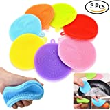 3 Pcs Silicone Dish Washing Sponge Scrubber Kitchen Cleaning antibacterial by UBOOMS