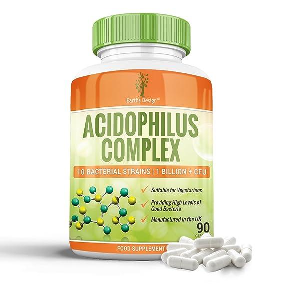 Complejo Acidophilus - 10 Cepas Bacterianas - 1+ Millones de UFC - Alta Concentración - Para Hombres y Mujeres - Apto Vegetarianos - 90 Cápsulas (Suministro ...